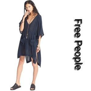 Free People Blue Gauze Tied With Love Tunic